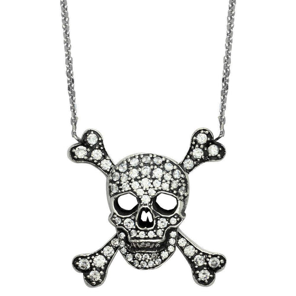 Large Sterling Silver Cubic Zirconia Jolly Roger Skull and Crossbones Necklace