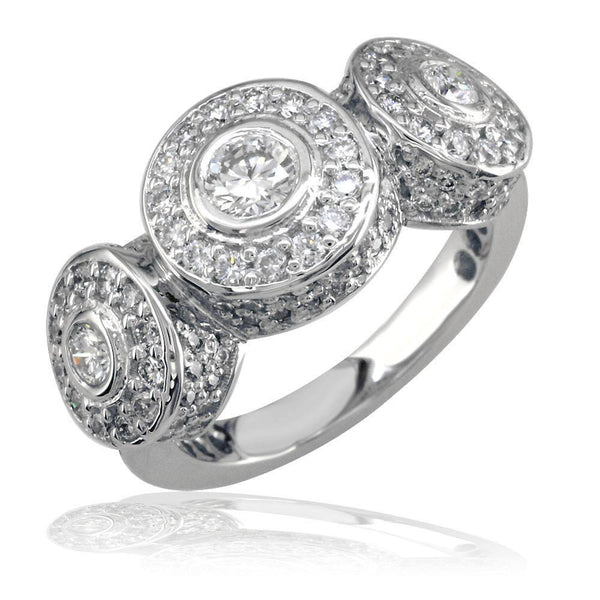 3 Stone Diamond Bezel Ring with Diamonds On Sides and Top in 18K