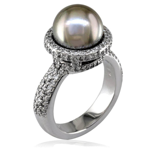 Natural Gray South Sea Pearl and Diamond Ring in 18K