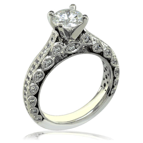 Vintage Look Diamond Engagment Ring Setting E/W-Z3996
