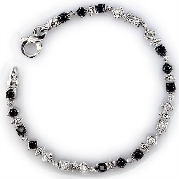 White and Black Diamond Bracelet