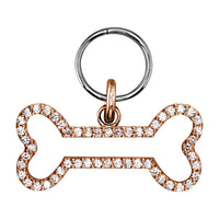 Cubic Zirconia Open Szira Dog Bone Pendant in 14K Pink Gold