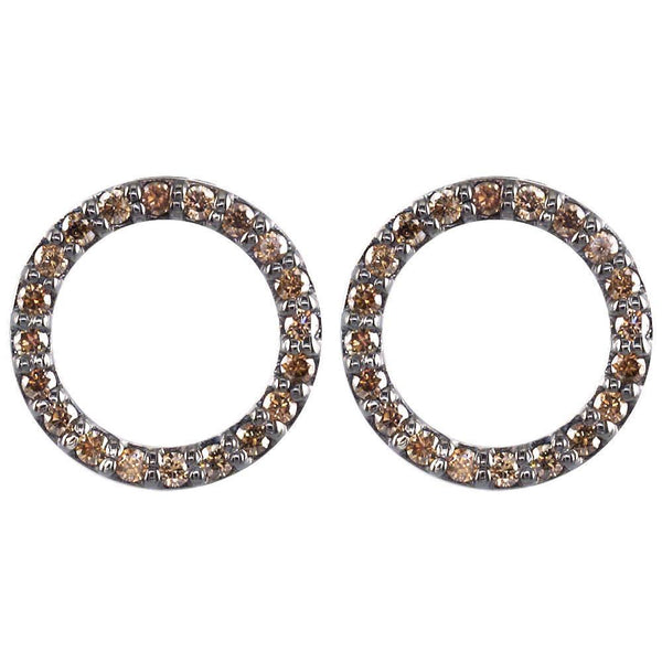 Champagne Diamond Circle Earrings in 18K