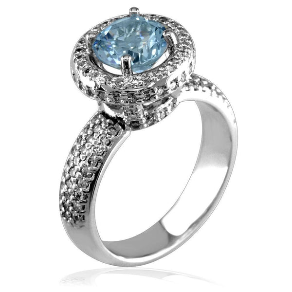 Aquamarine and Diamond Ring LR-Z4019Aq