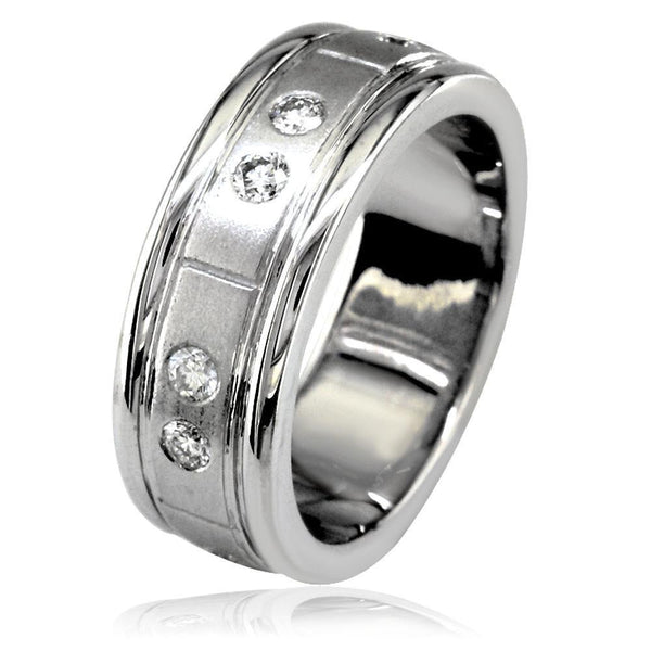 Mens Wide Diamond Band with Satin Finish in 18K