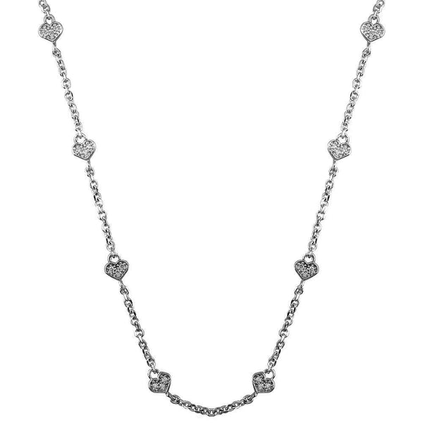 "Flat Diamond Heart Chain, 14 Hearts, 18"", 1.12CT"