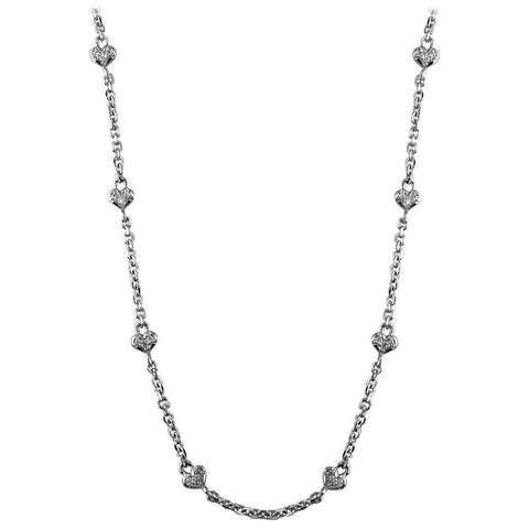 Diamond Heart Chain, Small Hearts in 14K White Gold 16""