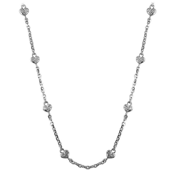 Diamond Heart Chain in 14K White Gold
