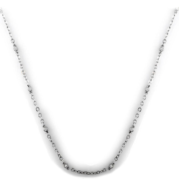 "Double-Sided Diamond Link Chain 16"" in 14K White Gold"
