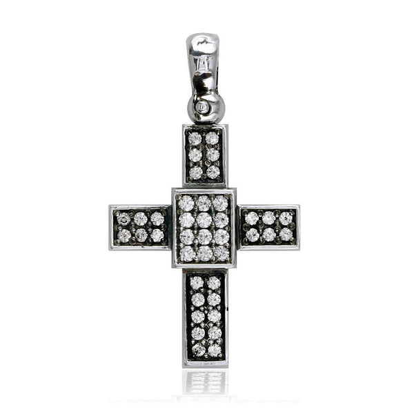 Cubic Zirconia Cross Pendant in Sterling Silver, 27mm
