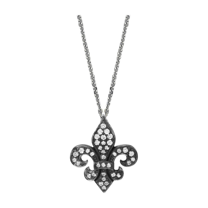 Small Fleur De Lis Pendant and Chain with Black Finish and Cubic Zirconias in Sterling Silver