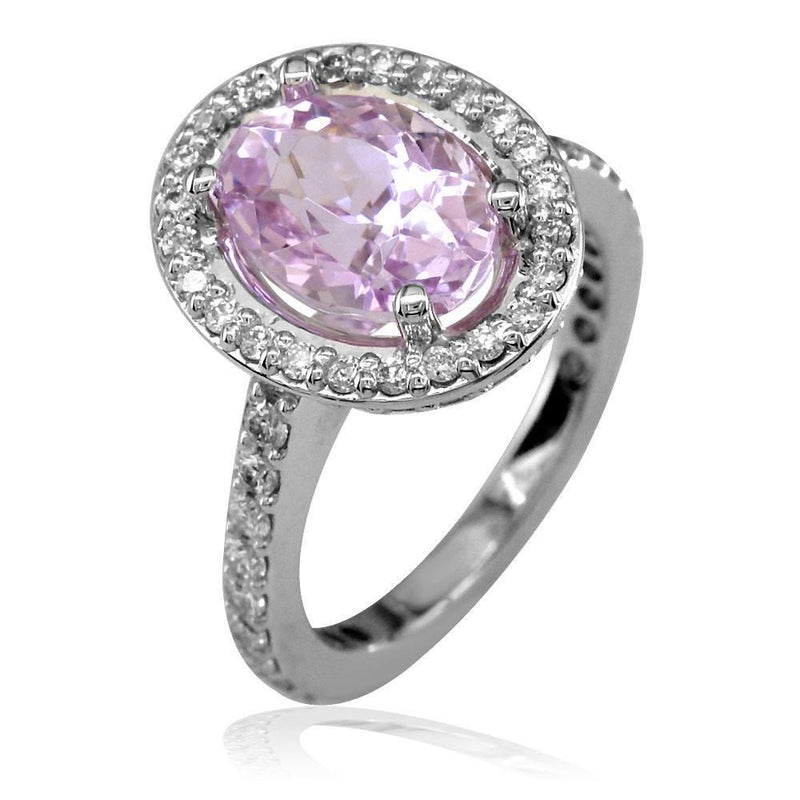 Oval Morganite and Diamond Ladies Ring in 18K