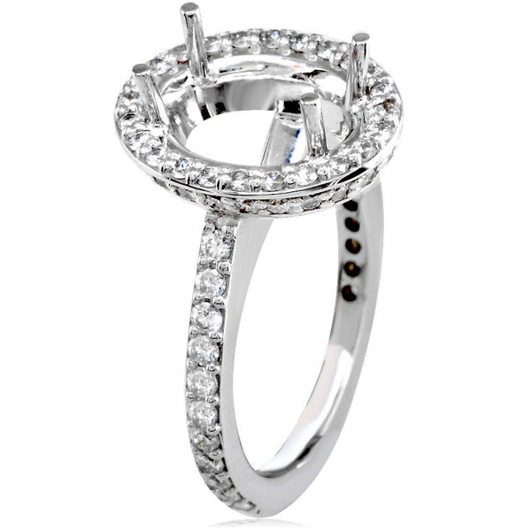 Diamond Oval Halo Engagement Ring Setting, 1.10CT in 18k White Gold