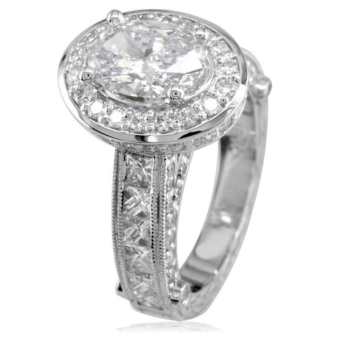 Oval Diamond Halo Engagement Ring Setting, 1.75CT Sides in 14k White Gold