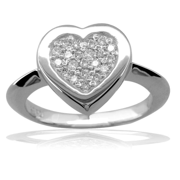 Diamond Heart Ring Pave' Center in 14K