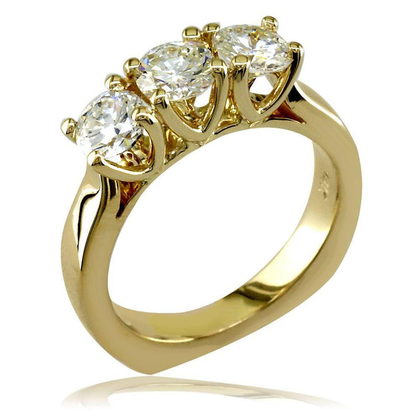 Complete 3 Stone Round Diamonds Anniversary Ring, 1.75CT in 14k Yellow Gold