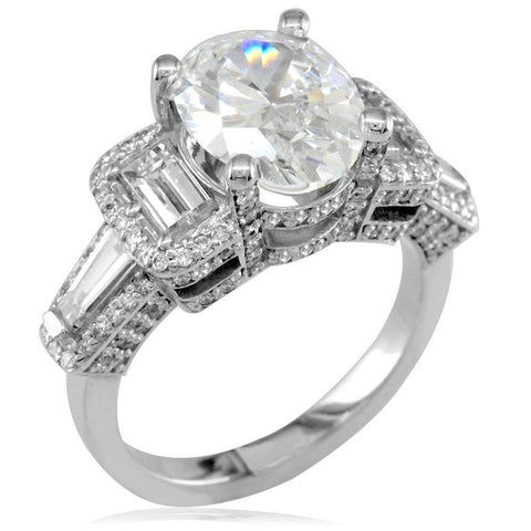 Oval Diamond Engagement Ring Setting with Baguettes in 14K White Gold