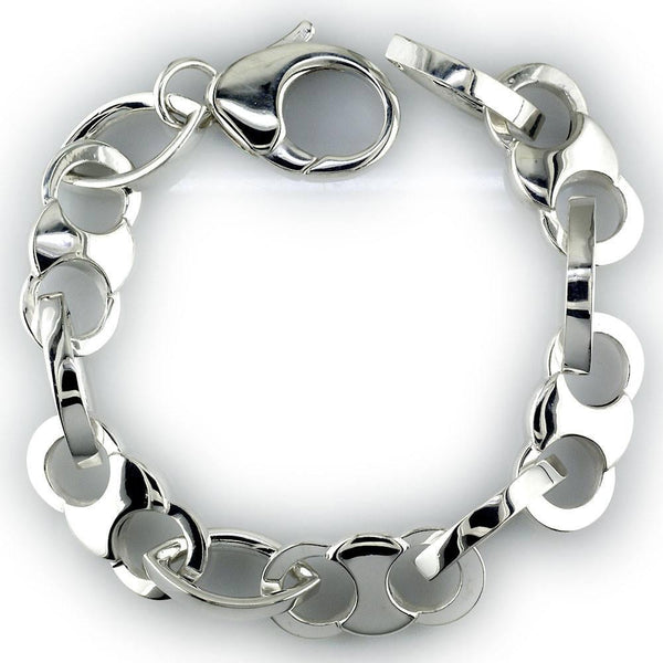 Mens Jumbo Cuff Link Bracelet with Marquise Connectors in Sterling Silver