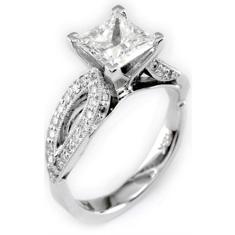 Diamond Engagement Ring Setting in 18K White Gold, 0.46CT