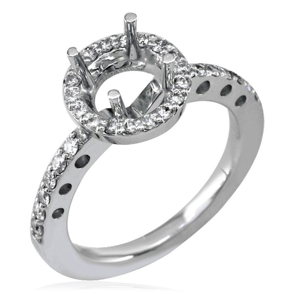 Diamond Halo Engagement Ring Setting in 18k White Gold, 0.30CT