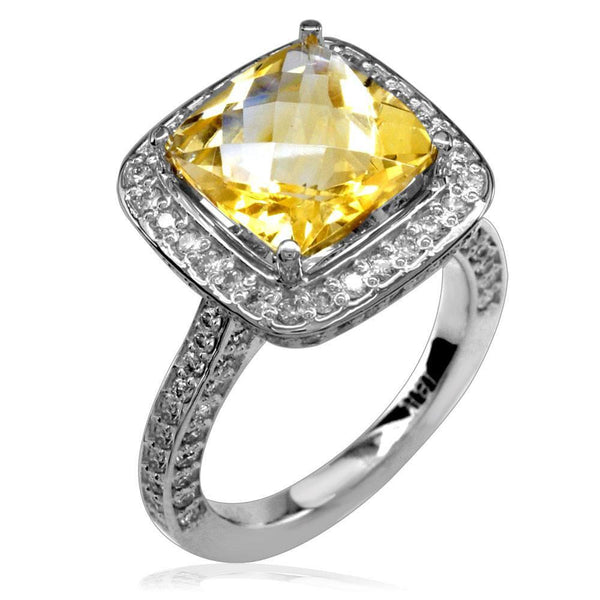 18K Citrene and Diamond Ring, 10mm
