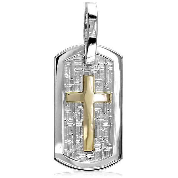 Large Cross Dog Tag Pendant with Crosses Background in Sterling Silver and 14k Yellow Gold