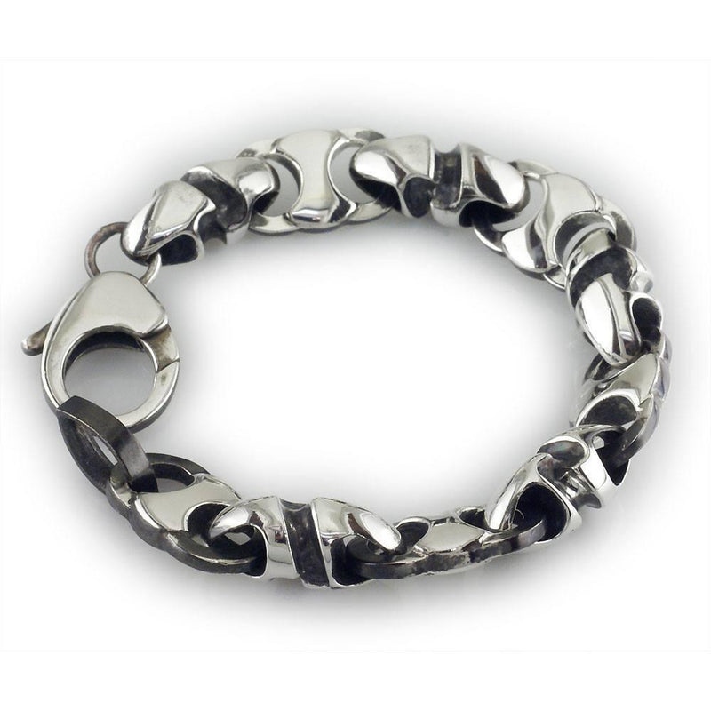 Mens Large Combo Link Bracelet in Sterling Silver with Black