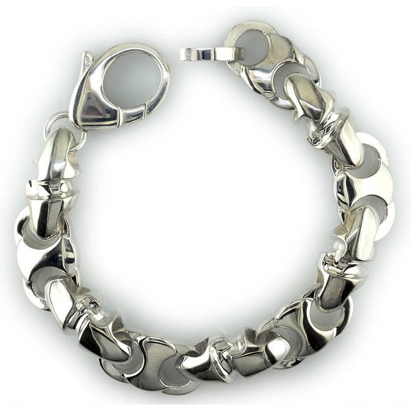 Mens Large Combo Link Bracelet in Sterling Silver