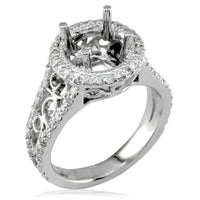 Vintage Style Diamond Halo Engagement Ring Setting in 18K White Gold, 0.71CT
