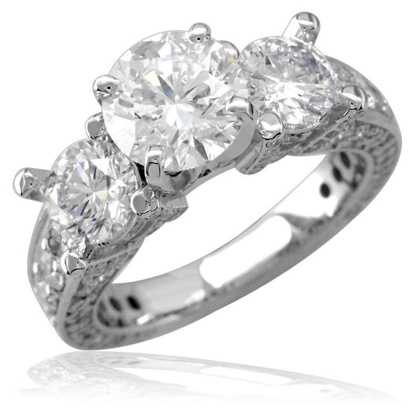 Three Stone Round Diamonds Engagement Ring Setting, 3CT Total Sides in 14k White Gold