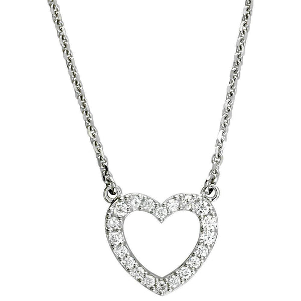 Open Diamond Heart Pendant with Chain, 0.65CT