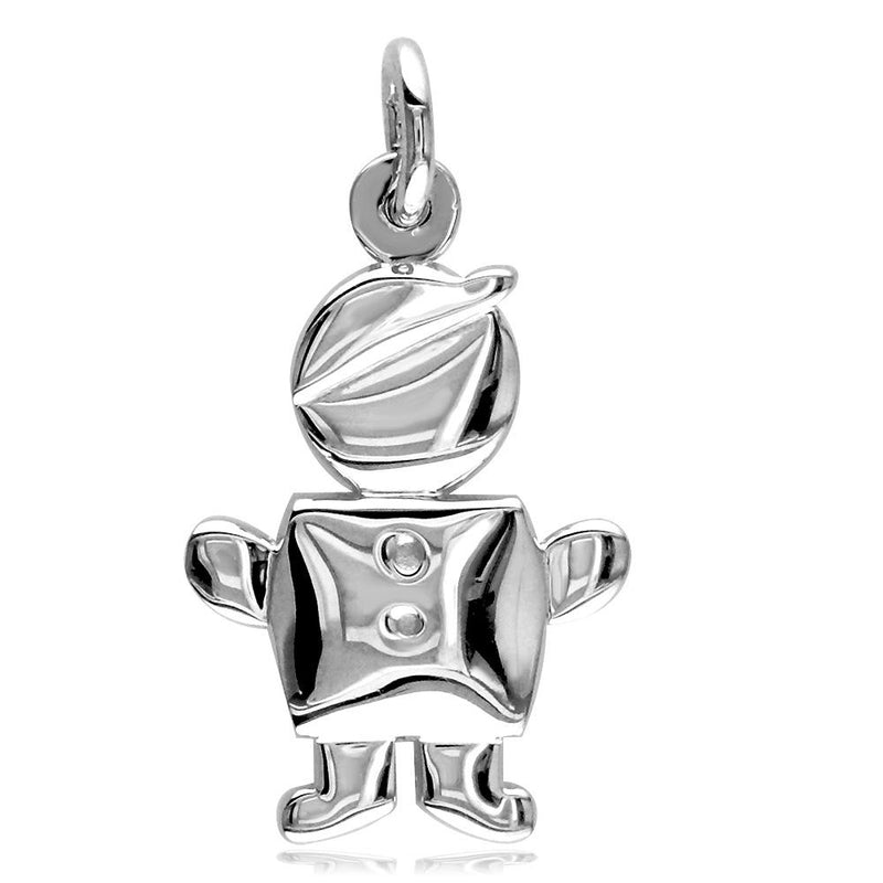 Small Belly Kids Sziro Boy 18k White Gold Charm for Mom, Grandma