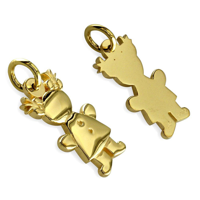 Small Belly Kids Sziro Girl 18k Yellow Gold Charm for Mom, Grandma