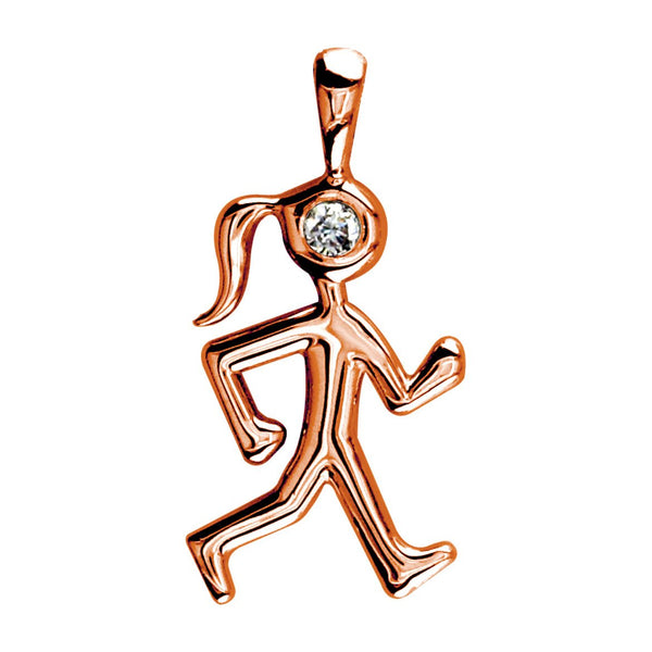 Diamond Lady Race Walker Charm in 14K Pink Gold