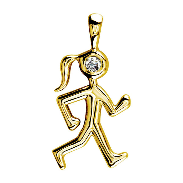 Diamond Lady Race Walker Charm in 14K Yellow Gold