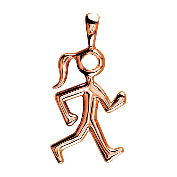 Lady Race Walker Charm in 14K Pink Gold, Plain