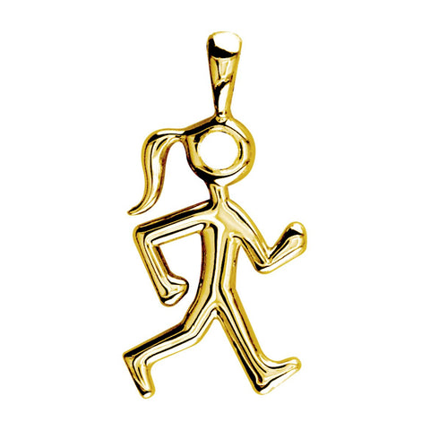 Lady Race Walker Charm in 14K Yellow Gold, Plain
