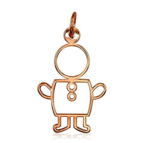 Large Cookie Cutter Boy Charm for Mom, Grandma in 14k Pink Gold