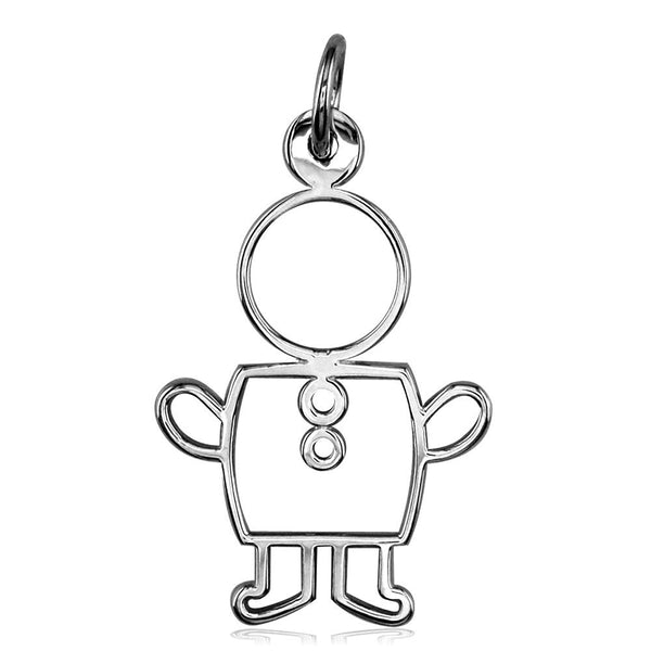 Large Cookie Cutter Boy Charm for Mom, Grandma in 18k White Gold