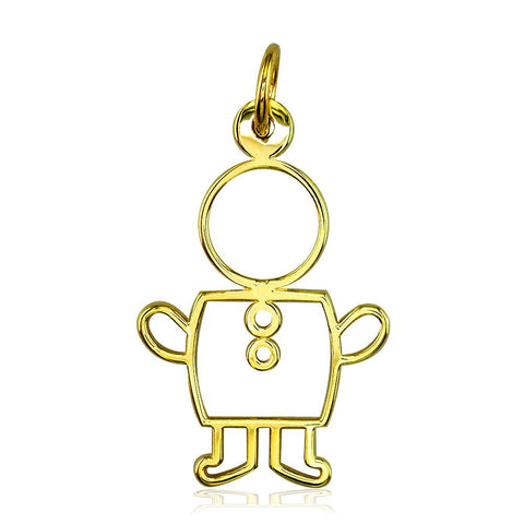 Large Cookie Cutter Boy Charm for Mom, Grandma in 18k Yellow Gold