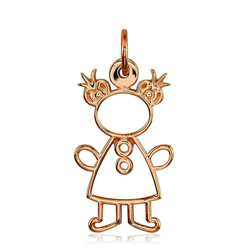 Large Cookie Cutter Girl Charm for Mom, Grandma in 14k Pink Gold