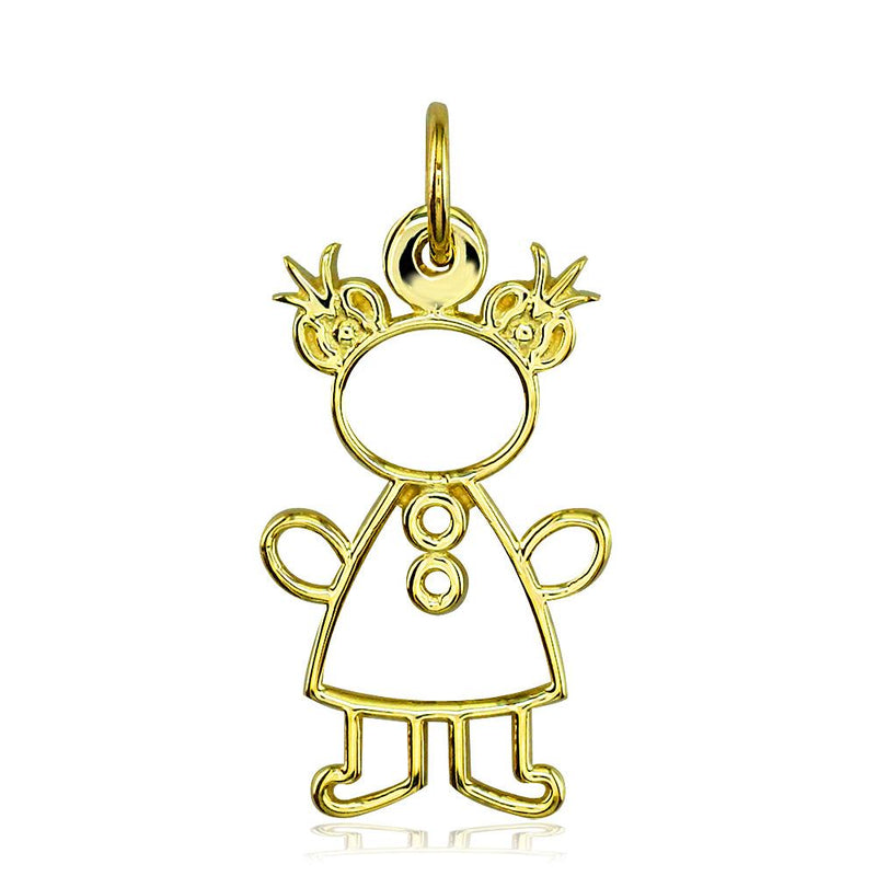 Large Cookie Cutter Girl Charm for Mom, Grandma in 18k Yellow Gold