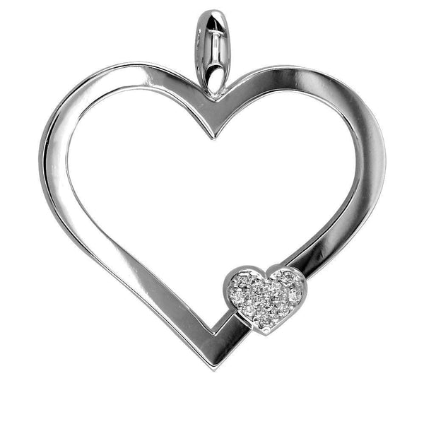 Large Mothers Love Diamond Heart Pendant in 14K