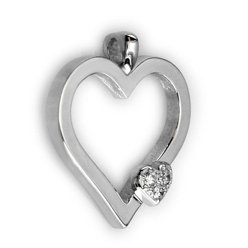 Medium Mothers Love Diamond Heart Pendant, One Heart in 14K White Gold