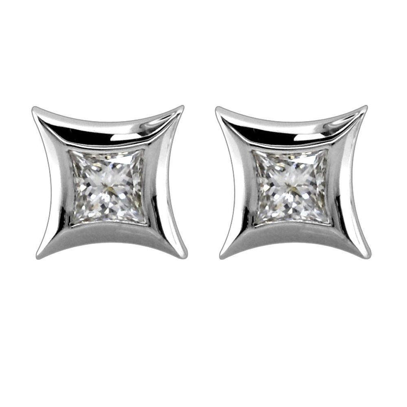 Princess Cut Diamond Studs with 14K White Gold Frames, 0.35CT Total