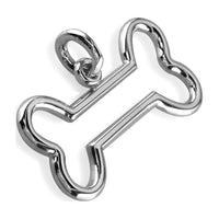 Open Dog Bone Charm in Sterling Silver