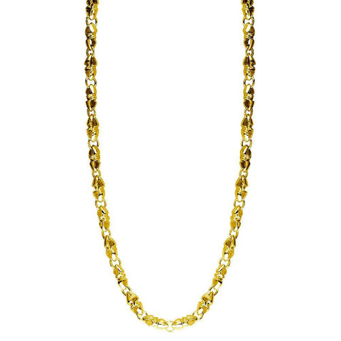 Mens Or Ladies Small Size Link Twisted Bullet 14K Yellow Gold Chain, 22""