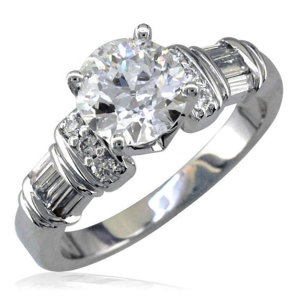 Diamond Engagement Ring Setting with Round and Baguette Diamond Side Stones, 0.59CT in 14K White Gold
