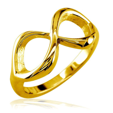 Classic Infinity Ring, 10mm Wide in 14K Yellow Gold
