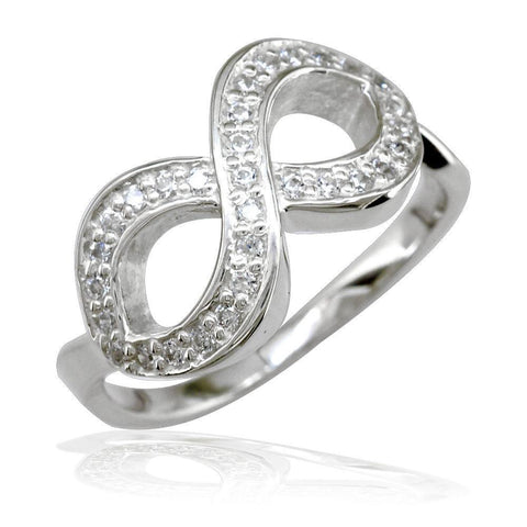 Cubic Zirconia Infinity Ring in Sterling Silver
